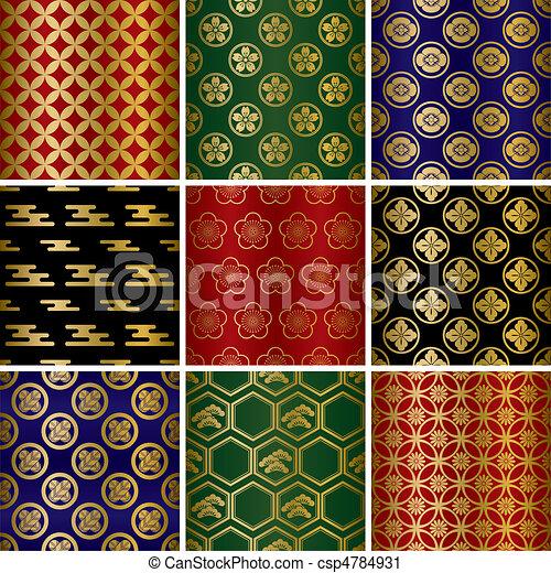 Japanese traditional patterns set - csp4784931
