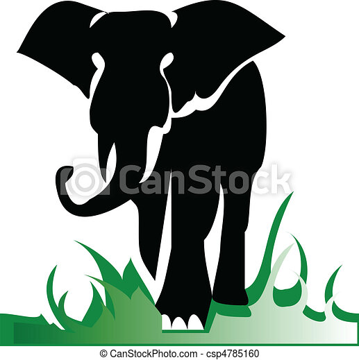 elephant alone illustration - csp4785160