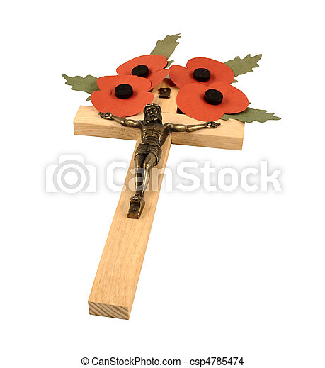 Poppies and Crucifix - csp4785474