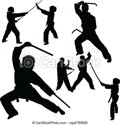 fight vector silhouettes - csp4785826