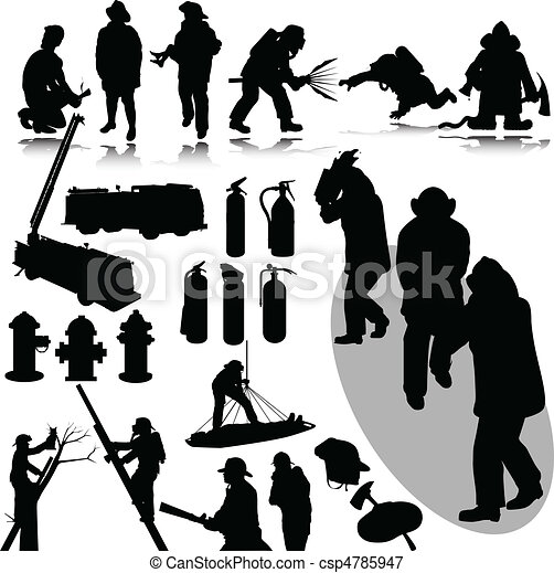 vectors illustration of firefighters vector silhouettes