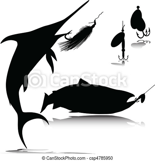 fish and hook vector silhouettes - csp4785950