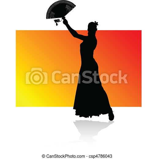 flamenco spanish dance woman black - csp4786043
