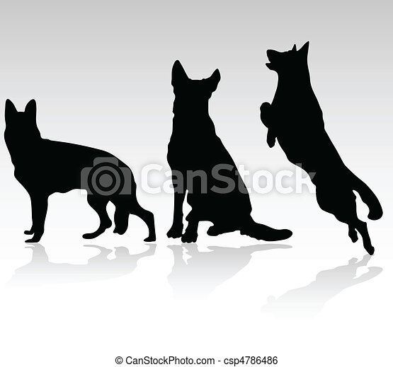 german shepherd dog vector silhouet - csp4786486