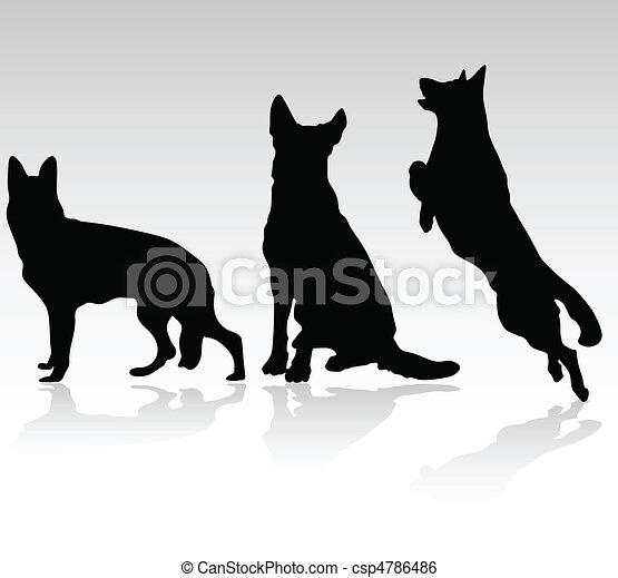 german shepherd dog vector silhouet - csp4786486