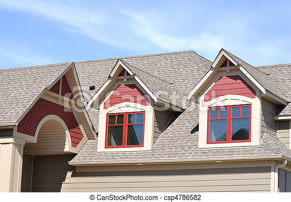 Gable Dormers on Residential Home - csp4786582