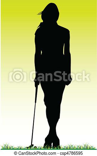 girl golfer posing on the grass - csp4786595