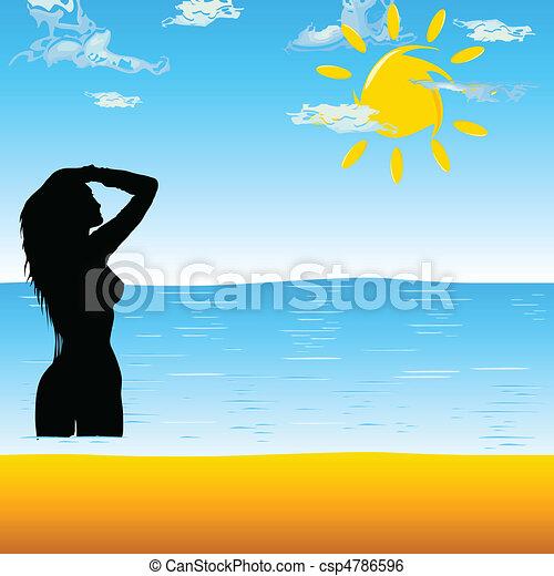 girl enjoying the beach - csp4786596