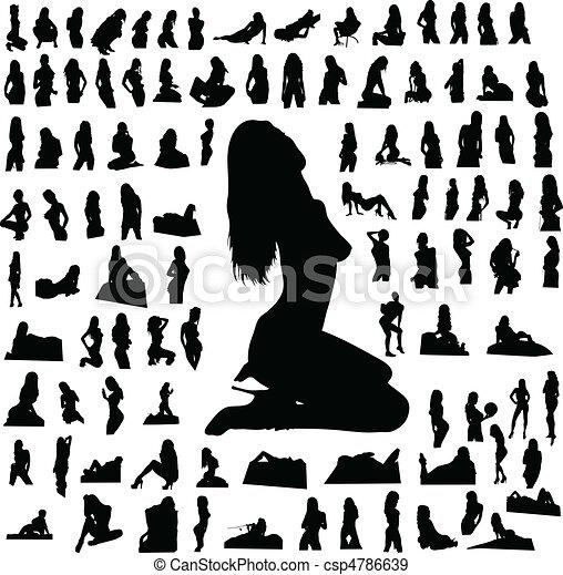 girl hot part five vector silhouett - csp4786639