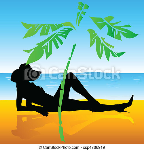 girl sunbather on the beach - csp4786919