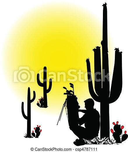 golfer resting illustration - csp4787111