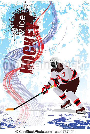 Ice hockey players. Colored Vector - csp4787424