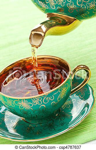 tea in antique porcelain mug - csp4787637