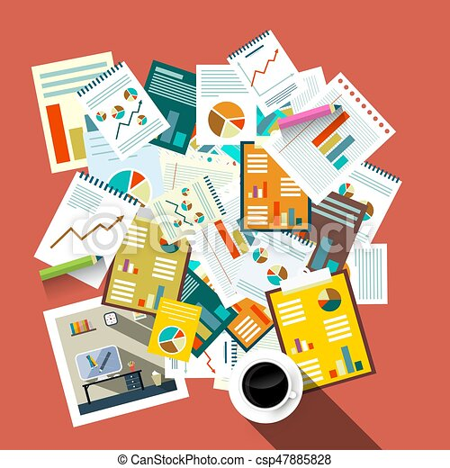 Flat Design Top View Paperwork Vector Illustration. Business Concept. Tax Forms, Success Graphs with Coffee. - csp47885828