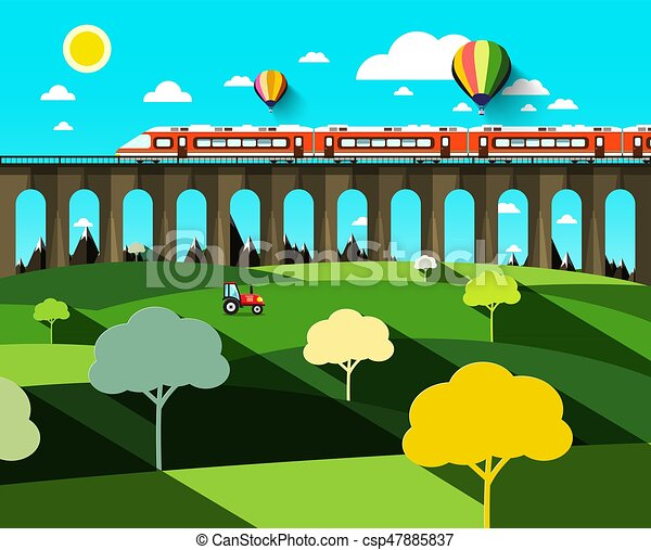 Flat Design Landscape with Modern Train on High Bridge and Hot Air Balloons on Blue Sky - csp47885837