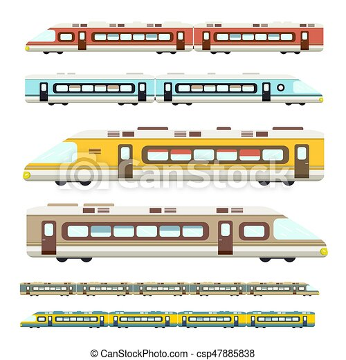 Train. Vector Flat Design Modern Trains Icons Set Isolated on White Background. - csp47885838