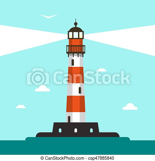 Flat Design Lighthouse Illustration with Sea and Blue Sky - csp47885840