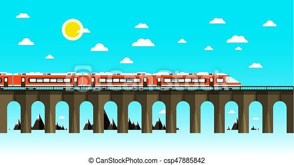 Moder Train on Old Bridge Over Sea. Flat Design Nature Scene. Abstract Vector Landscape. - csp47885842