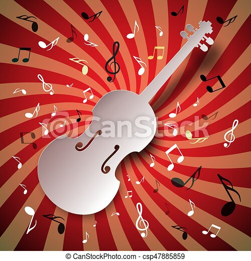 Retro Music Vector Background with Violin and Notes - csp47885859