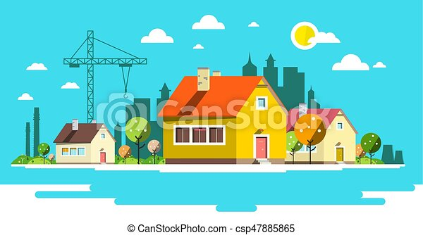 Landscape with Houses. Flat Design City. - csp47885865