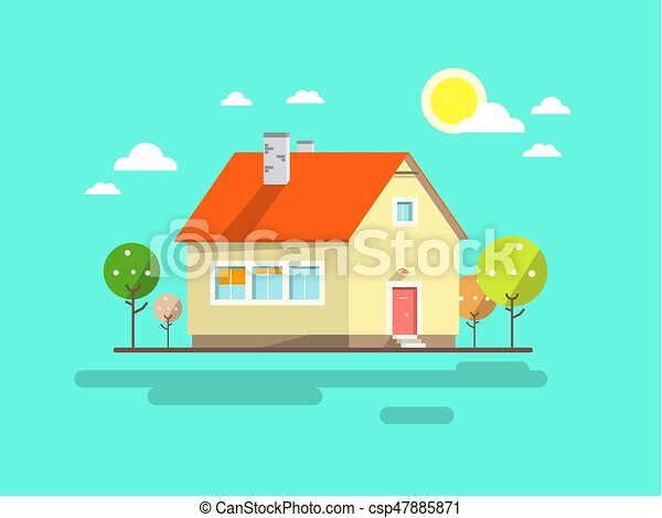 House. Flat Design Urban Landscape. Vector Abstract Architecture Illustration. - csp47885871