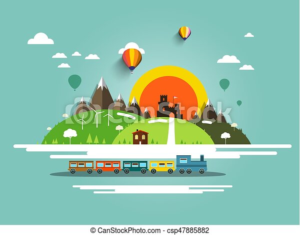 Flat Design Landscape with Steam Train, Old Castle and Hot Air Balloons - csp47885882