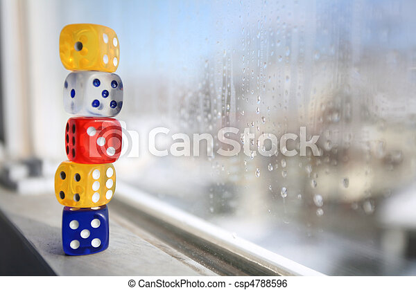 Stacked Dice on Window Sill - csp4788596