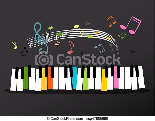 Music Keyboard with Colorful Keys and Notes - csp47885968