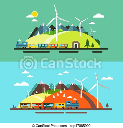 Landscape with Train. Abstract Flat Design Nature Scene with Mountains, Hills and Wind Mills - csp47885992