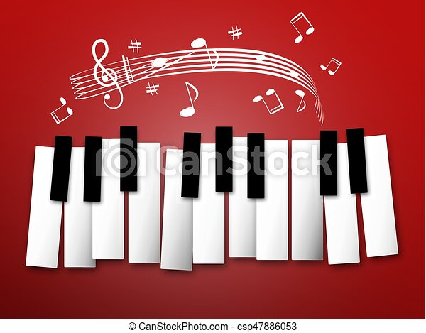 Piano Keys. Music Notes and Staff. Abstract Background. - csp47886053