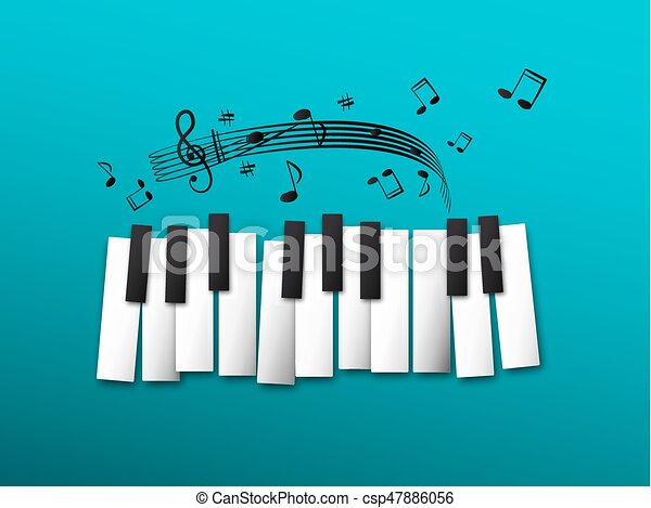 Piano Keys, Music Notes on Blue Background - csp47886056