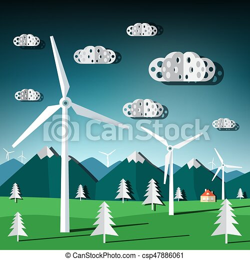 Wind Mills Vector. Flat Design Paper Cut Landscape with Windmills. - csp47886061