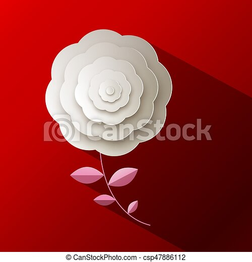 Paper Rose Flower on Red Background - csp47886112