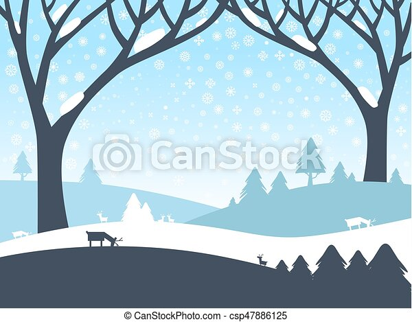Winter Landscape. Vector Nature Scene with Trees, Roe Deer and Field Covered with Snow. - csp47886125