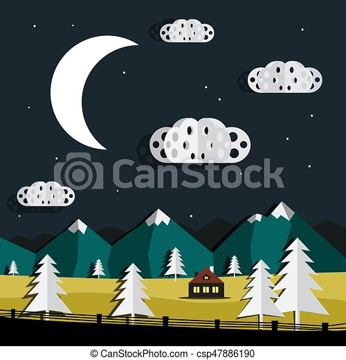 Vector Night Landscape. Paper Cut Trees and Clouds. Mountains on Background. - csp47886190
