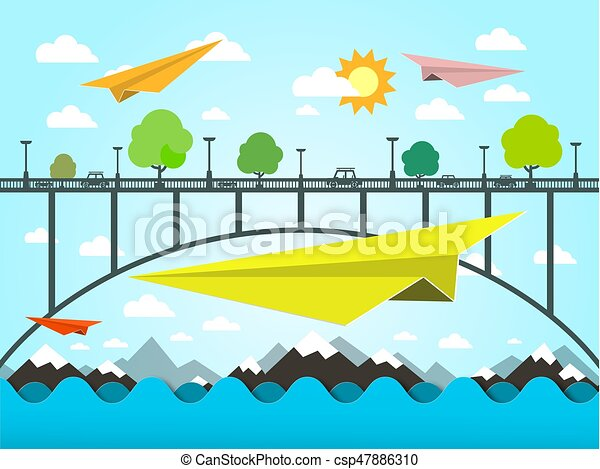 Landscape with Paper Plains. Bridge and Ocean Vector Illustration. Flat Design Vector Nature Scene. - csp47886310