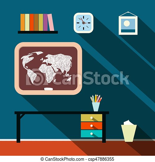 Flat Design Long Shadow Studying Room with World Map on Blackboard - csp47886355