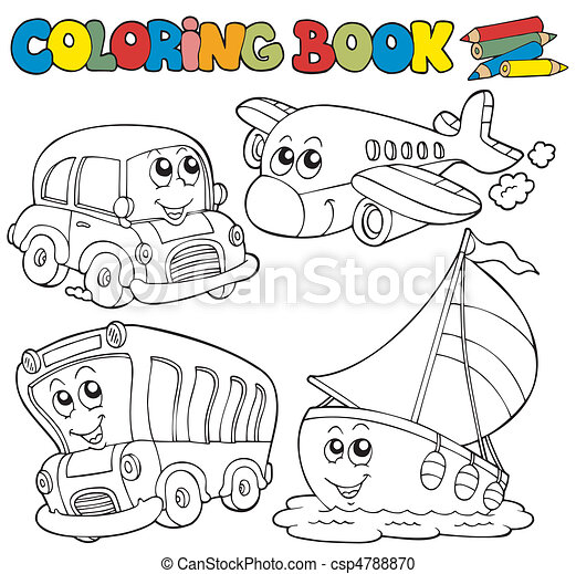 Coloring book with various vehicles - csp4788870