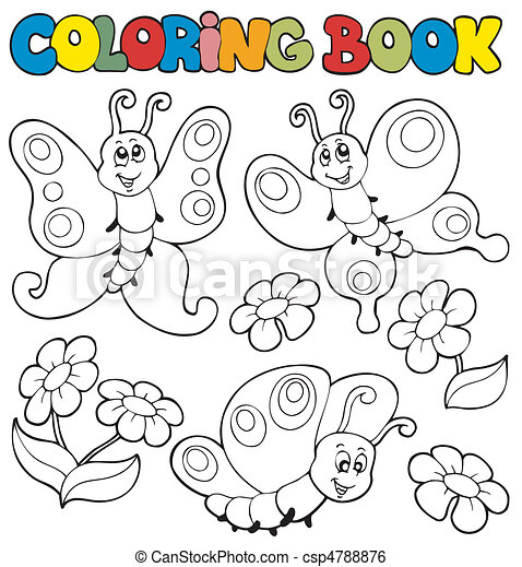 Coloring book with butterflies 1 - csp4788876