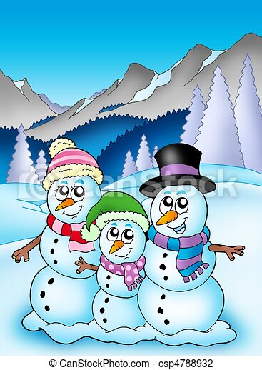 Clip Art of Winter theme with snowman family - color illustration ...