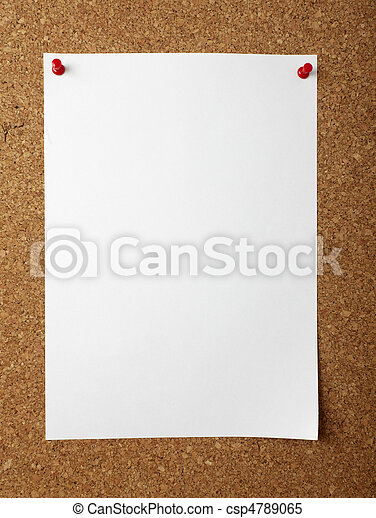notes with push pins on cork board office business - csp4789065