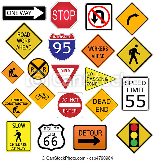 Image of various road signs isolated on a white background. - csp4790984