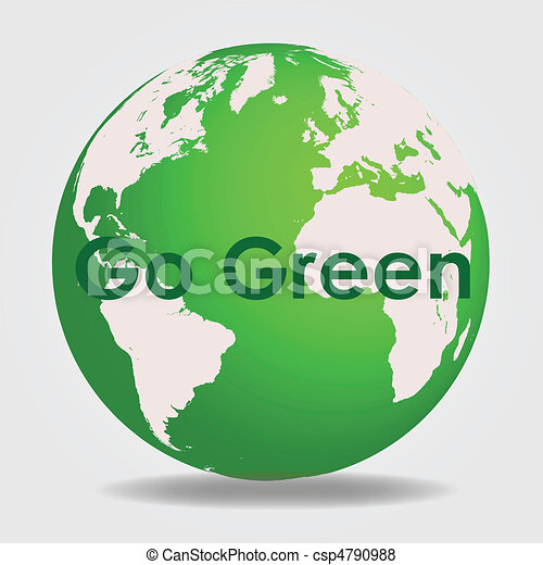 Green globe with the message    Green Globe Clip Art