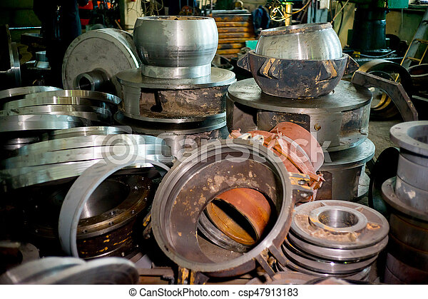 A view of the inside of a modern factory. Steel products in the factory