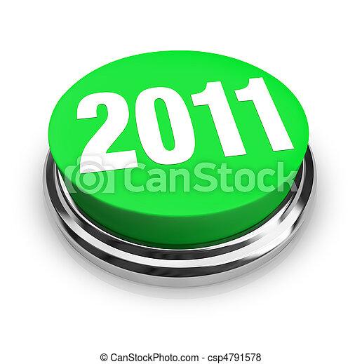 Round Green Button - 2011 New Year - csp4791578