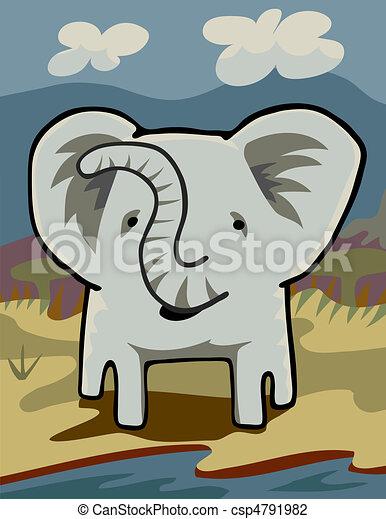 Elephant at a River - csp4791982