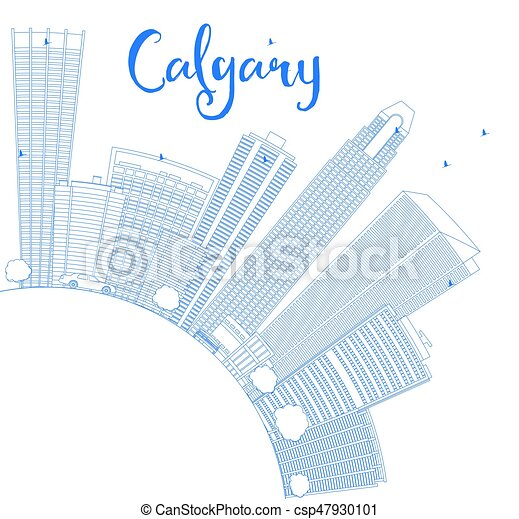 Outline Calgary Skyline with Blue Buildings and Copy Space. - csp47930101