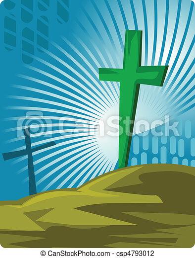 cimitero, croce, simboli - csp4793012