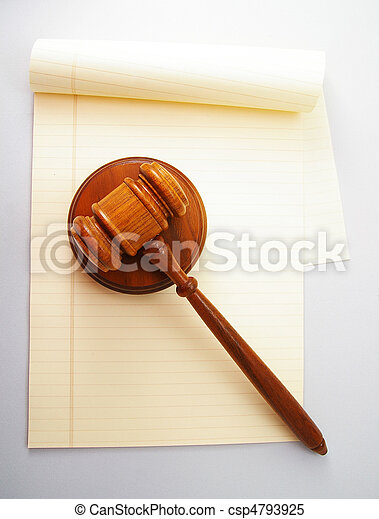 blank legal pad and law gavel - csp4793925