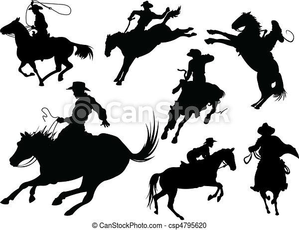 Cowboys silhouettes - csp4795620